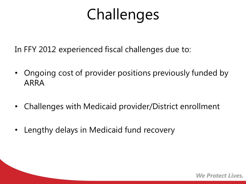 Challenges In FFY 2012 experienced fiscal challenges due to: Ongoing cost of provider positions previously funded by ARRA Challenges with Medicaid provider/District enrollment Lengthy delays in Medicaid fund recovery