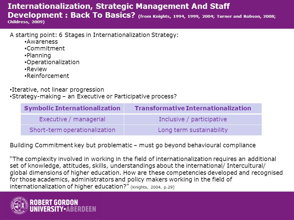 Internationalization, Strategic Management And Staff Development : Back To Basics? (from Knights, 1994, 1999, 2004; Turner and Robson, 2008; Childress