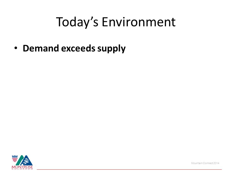 Today's Environment Demand exceeds supply