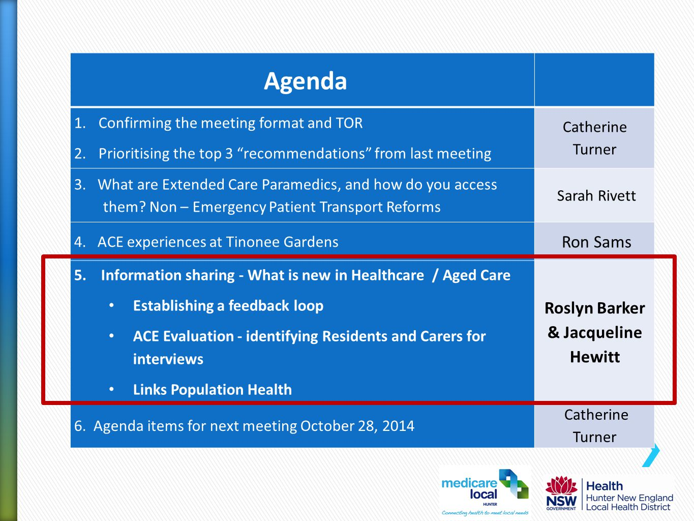 """Agenda 1.Confirming the meeting format and TOR 2.Prioritising the top 3 """"recommendations"""" from last meeting Catherine Turner 3. What are Extended Care"""