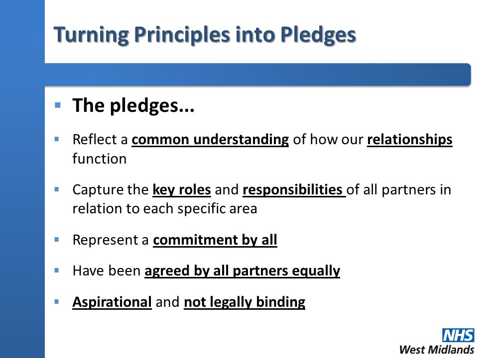Turning Principles into Pledges  The pledges...