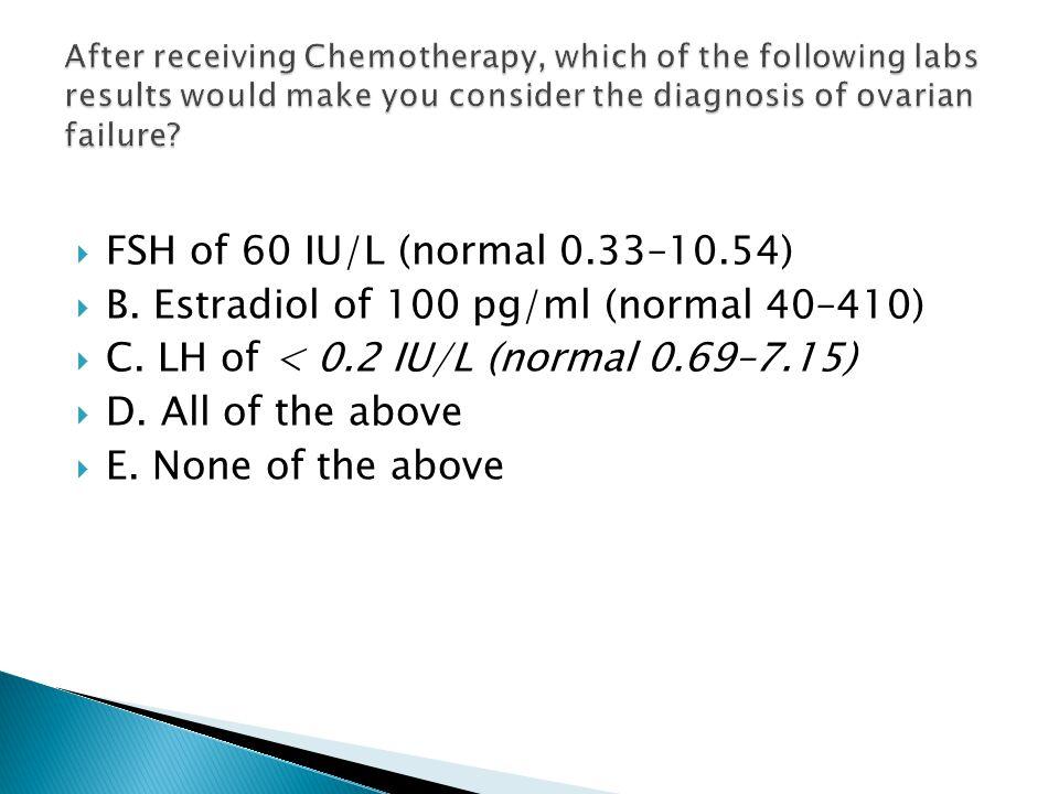  FSH of 60 IU/L (normal 0.33–10.54)  B. Estradiol of 100 pg/ml (normal 40–410)  C. LH of < 0.2 IU/L (normal 0.69–7.15)  D. All of the above  E. N