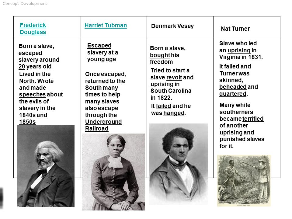 Concept Development Frederick Douglass Harriet Tubman Denmark Vesey Nat Turner Born a slave, escaped slavery around 20 years old Lived in the North.