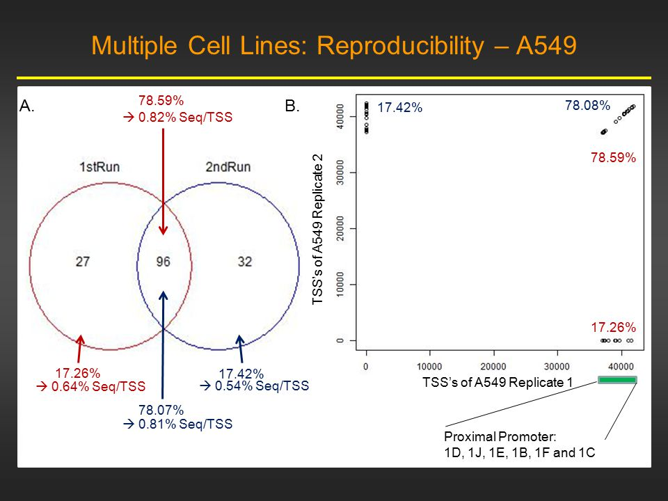 A549 MCF-7 A.C. B. Multiple Cell Lines: Shared, but DE TSSs Tcells Daudi MCF7 A549