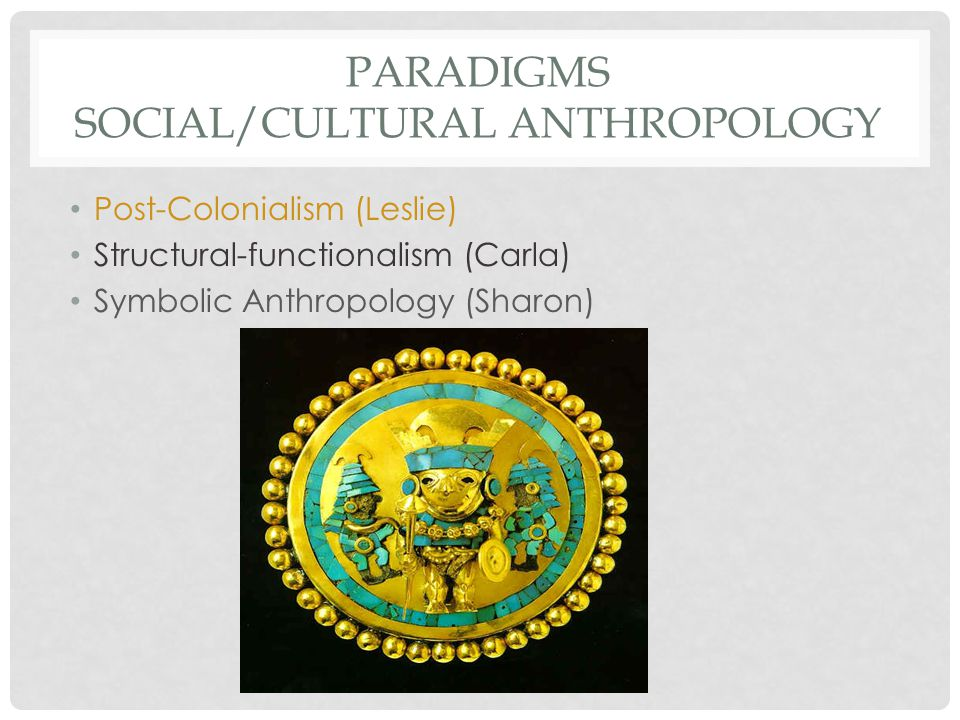 PARADIGMS SOCIAL/CULTURAL ANTHROPOLOGY Post-Colonialism (Leslie) Structural-functionalism (Carla) Symbolic Anthropology (Sharon)