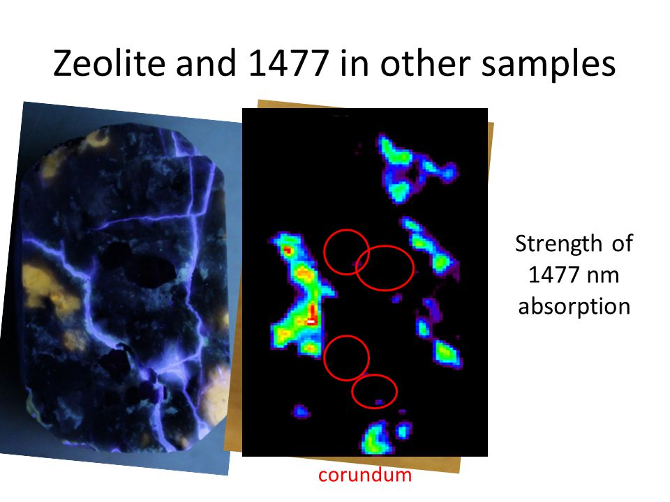 Zeolite and 1477 in other samples Thomsonite map Strength of 1477 nm absorption corundum