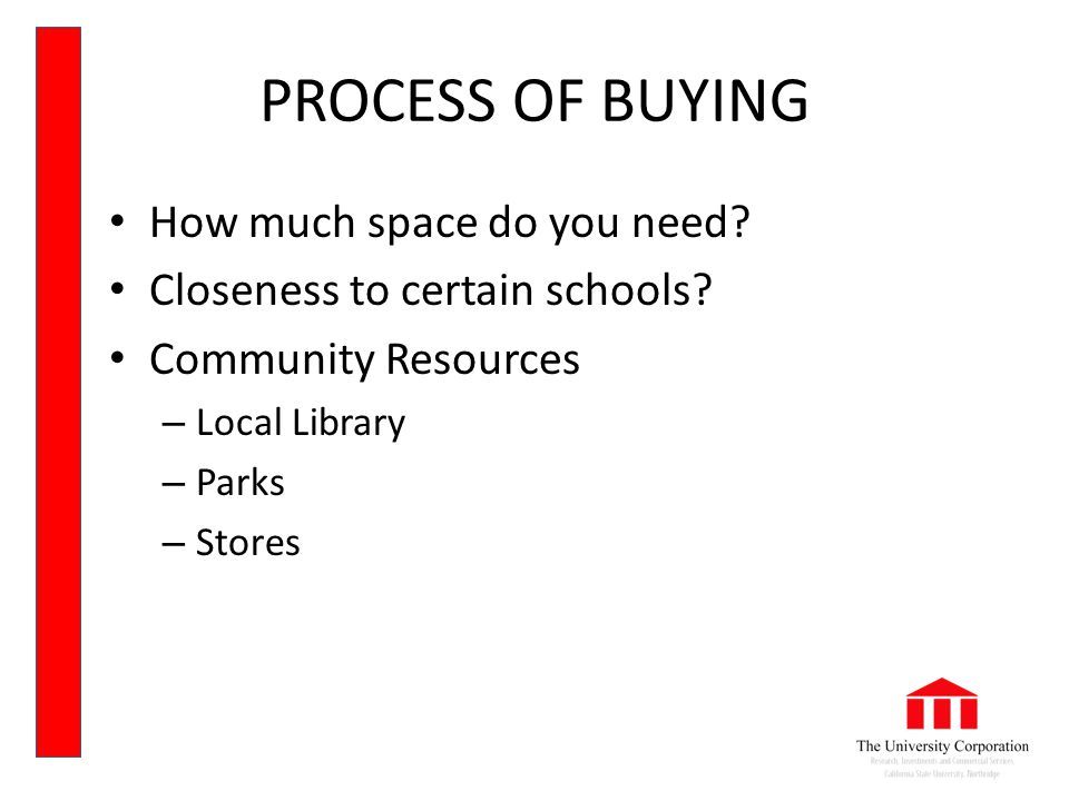 PROCESS OF BUYING How much space do you need. Closeness to certain schools.