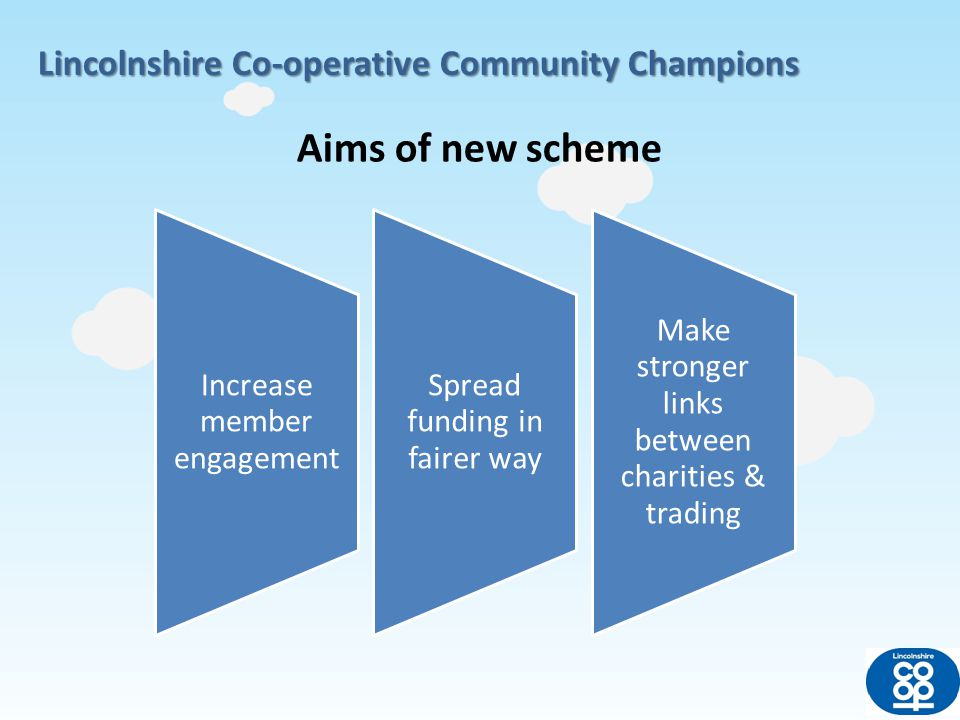 Lincolnshire Co-operative Community Champions Passive members All members automatically linked to nominated charity in the area where they live Active members Members can choose their own charity online from central list INCREASE MEMBER ENGAGEMENT Wherever members shop, support will be linked to their local or chosen charity Till receipt message & in store notice board Total pot linked to dividend – 10% (£210,000 based on last year)