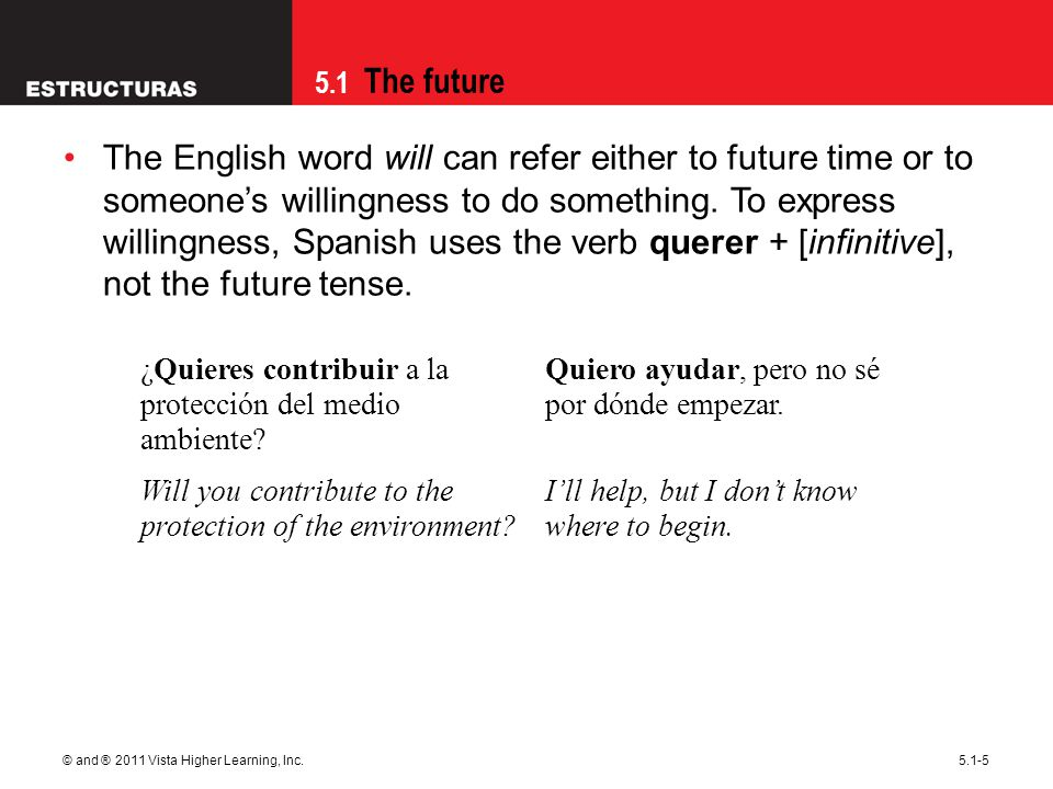 5.1 The future © and ® 2011 Vista Higher Learning, Inc.5.1-6 In Spanish, the future tense may be used to express conjecture or probability, even about present events.