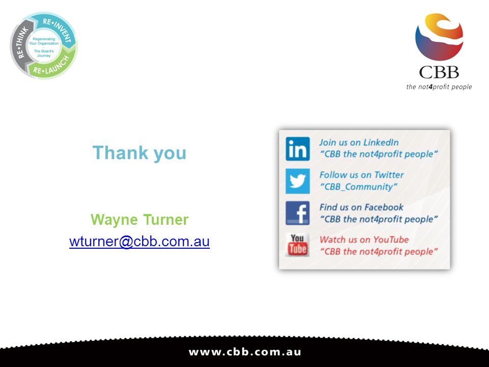 Thank you Wayne Turner wturner@cbb.com.au