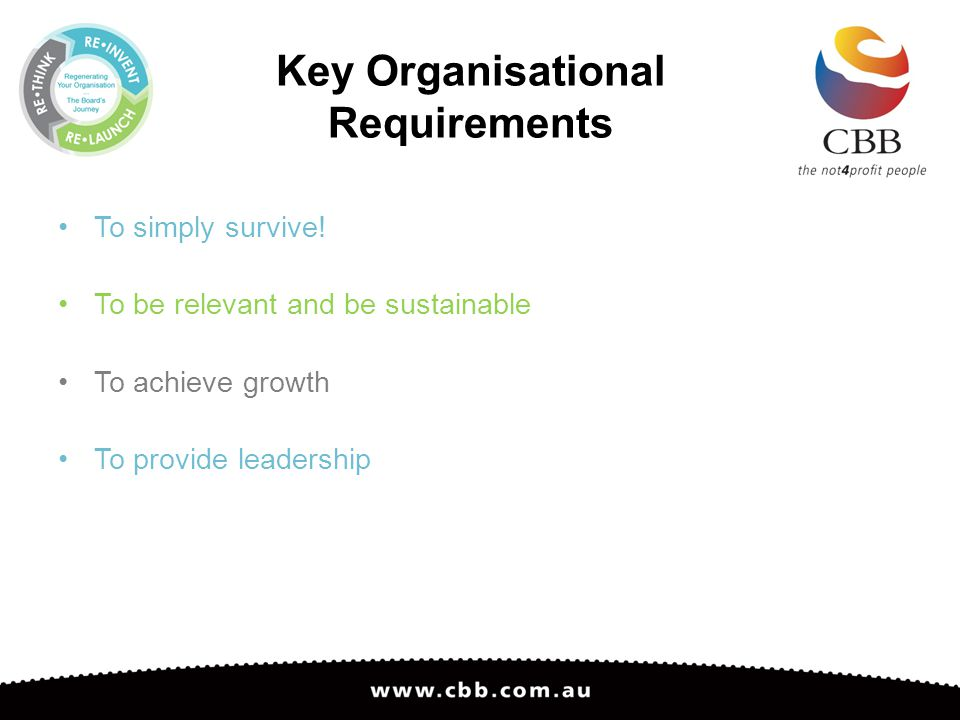 Key Organisational Requirements To simply survive.