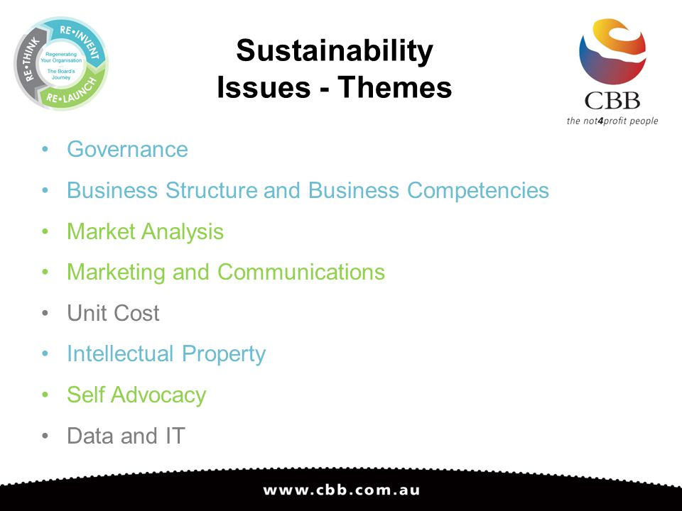 Sustainability Issues - Themes Governance Business Structure and Business Competencies Market Analysis Marketing and Communications Unit Cost Intellectual Property Self Advocacy Data and IT