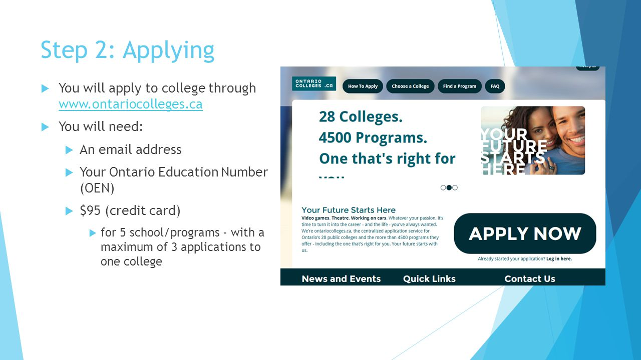 Step 2: Applying  You will apply to college through www.ontariocolleges.ca www.ontariocolleges.ca  You will need:  An email address  Your Ontario Education Number (OEN)  $95 (credit card)  for 5 school/programs - with a maximum of 3 applications to one college