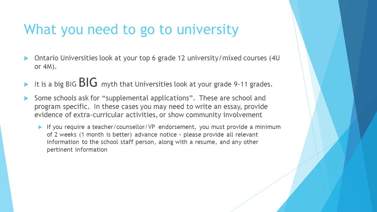 What you need to go to university  Ontario Universities look at your top 6 grade 12 university/mixed courses (4U or 4M).