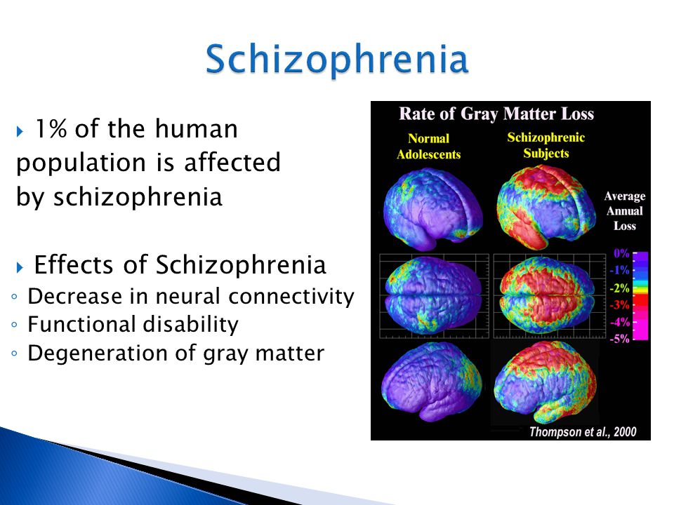 1% of the human population is affected by schizophrenia  Effects of Schizophrenia ◦ Decrease in neural connectivity ◦ Functional disability ◦ Degen
