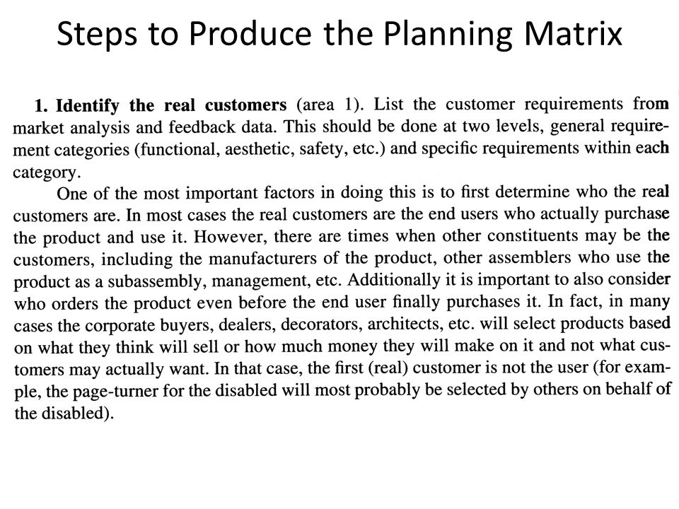 Steps to Produce the Planning Matrix