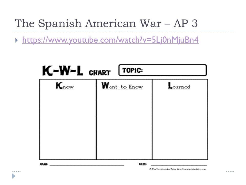 The Spanish American War – AP 3  https://www.youtube.com/watch v=5Lj0nMjuBn4 https://www.youtube.com/watch v=5Lj0nMjuBn4