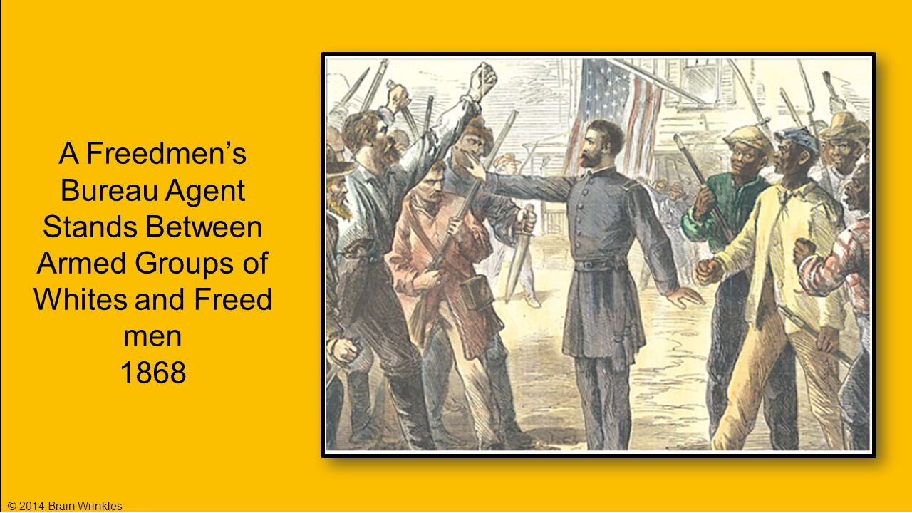 A Freedmen's Bureau Agent Stands Between Armed Groups of Whites and Freed men 1868