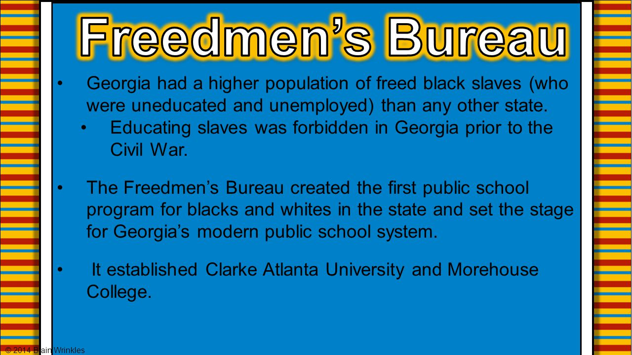 Georgia had a higher population of freed black slaves (who were uneducated and unemployed) than any other state. Educating slaves was forbidden in Geo