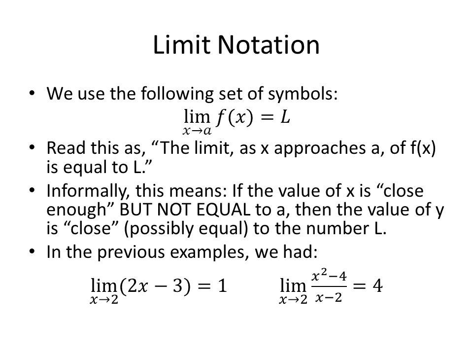 Limit Notation
