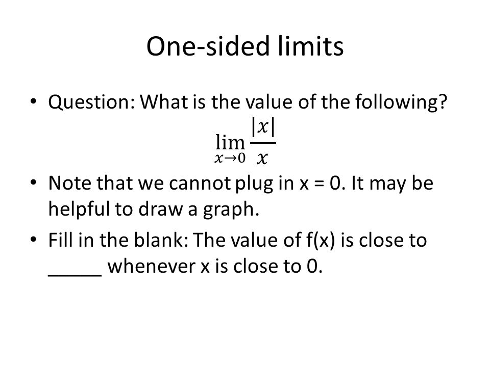 One-sided limits
