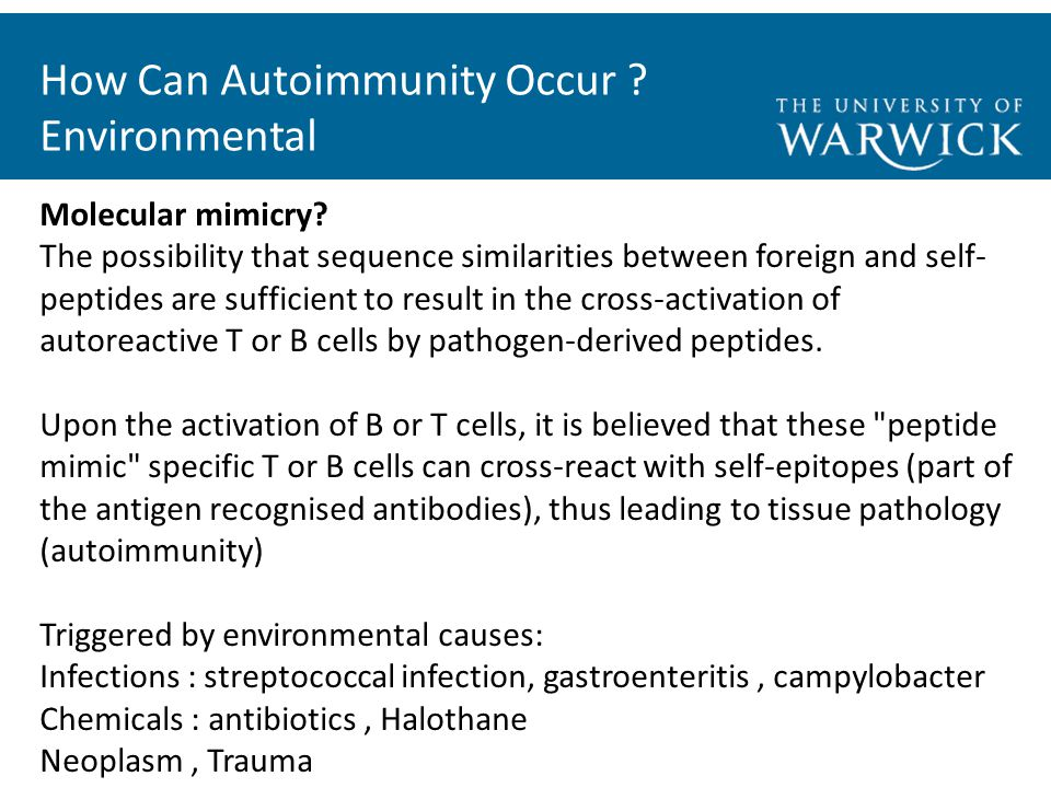 How Can Autoimmunity Occur . Environmental Molecular mimicry.