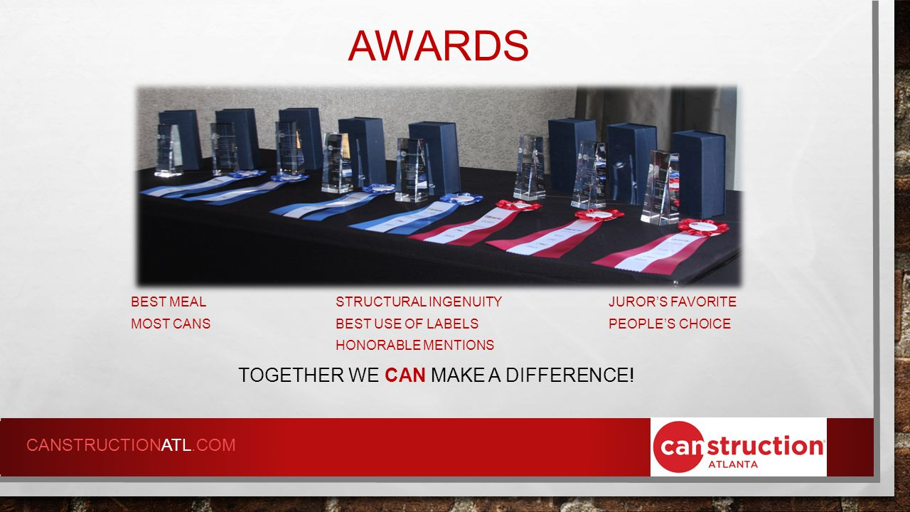 AWARDS TOGETHER WE CAN MAKE A DIFFERENCE.