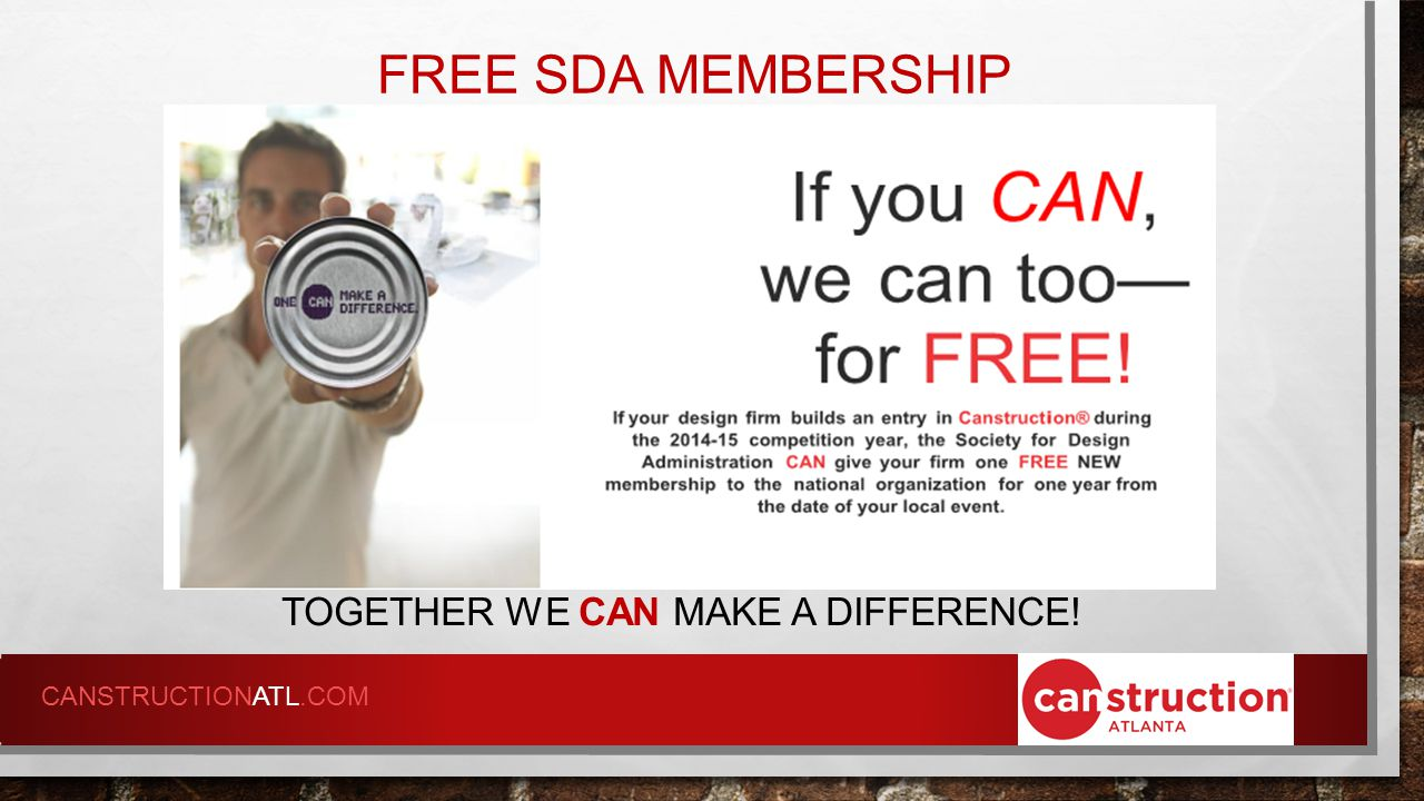 FREE SDA MEMBERSHIP TOGETHER WE CAN MAKE A DIFFERENCE! CANSTRUCTIONATL.COM
