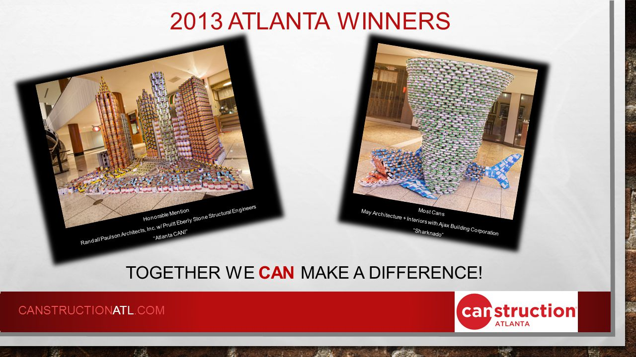 2013 ATLANTA WINNERS TOGETHER WE CAN MAKE A DIFFERENCE.