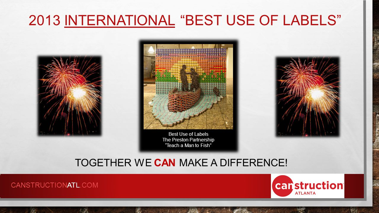 2013 INTERNATIONAL BEST USE OF LABELS TOGETHER WE CAN MAKE A DIFFERENCE.