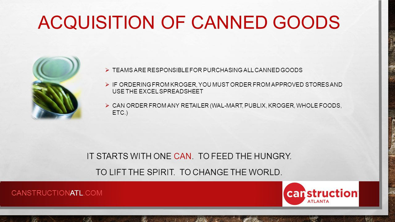 ACFB MOST NEEDED FOOD IT STARTS WITH ONE CAN.TO FEED THE HUNGRY.