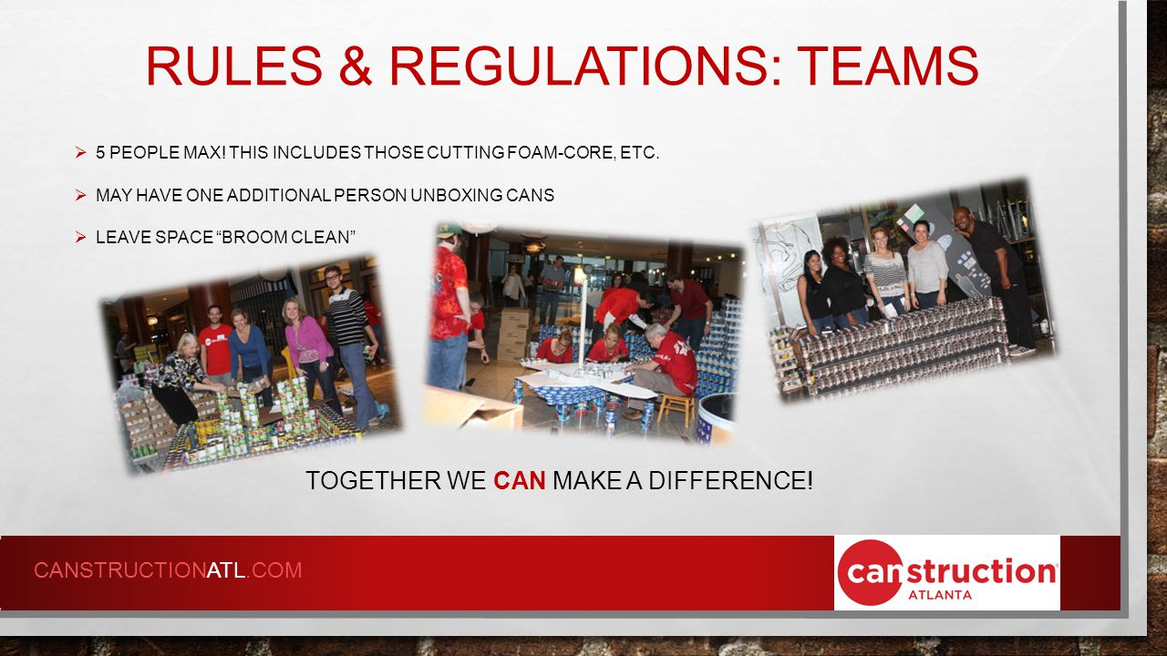 RULES & REGULATIONS: TEAMS TOGETHER WE CAN MAKE A DIFFERENCE.