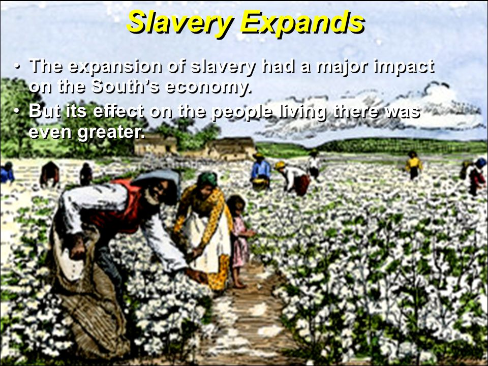Slavery Expands The expansion of slavery had a major impact on the South's economy.The expansion of slavery had a major impact on the South's economy.