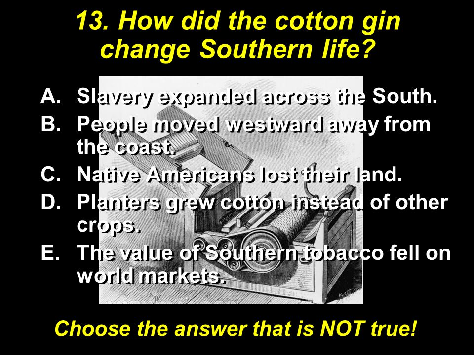 13. How did the cotton gin change Southern life. A.Slavery expanded across the South.