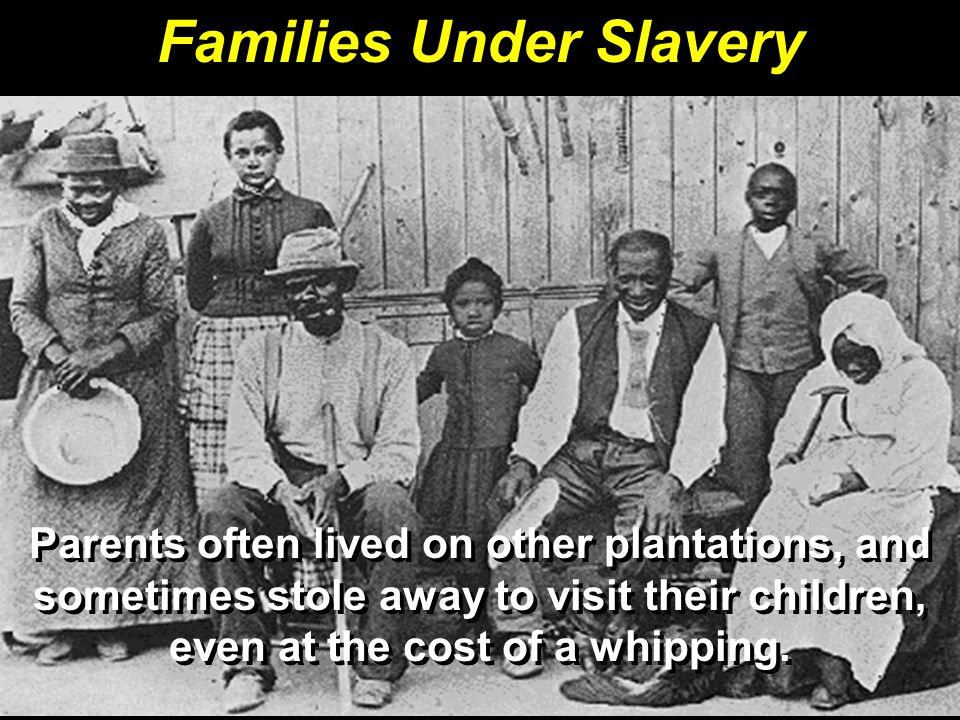 Families Under Slavery Parents often lived on other plantations, and sometimes stole away to visit their children, even at the cost of a whipping.