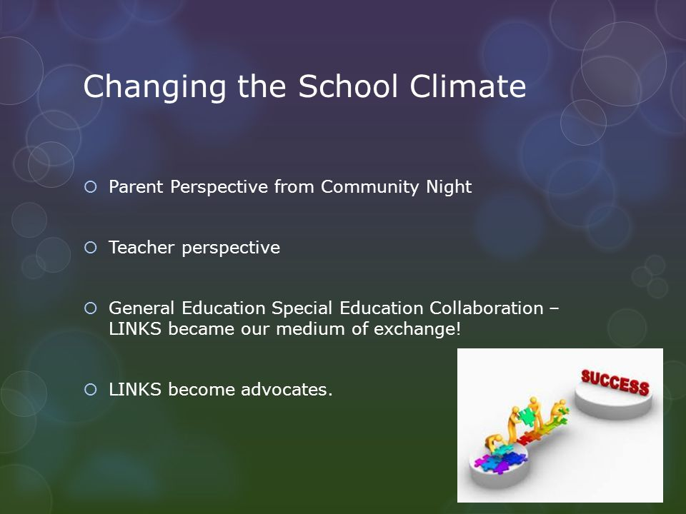 Changing the School Climate  Parent Perspective from Community Night  Teacher perspective  General Education Special Education Collaboration – LINKS became our medium of exchange.