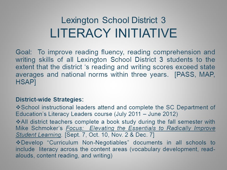 Lexington School District 3 LITERACY INITIATIVE Goal: To improve reading fluency, reading comprehension and writing skills of all Lexington School District 3 students to the extent that the district 's reading and writing scores exceed state averages and national norms within three years.