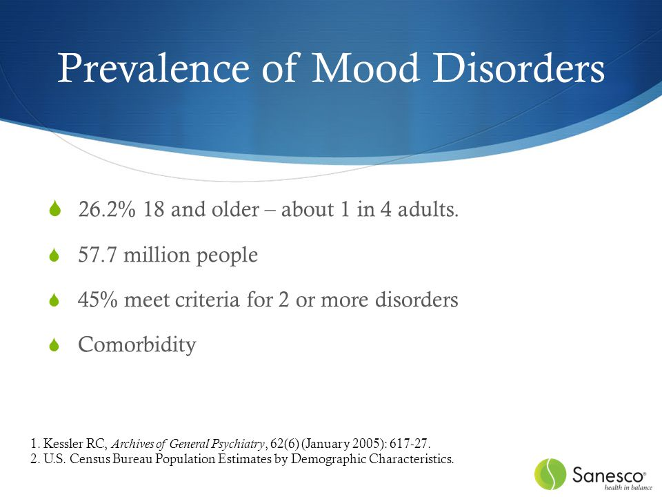Prevalence of Mood Disorders  26.2% 18 and older – about 1 in 4 adults.