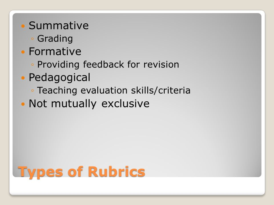 Types of Rubrics Summative ◦Grading Formative ◦Providing feedback for revision Pedagogical ◦Teaching evaluation skills/criteria Not mutually exclusive
