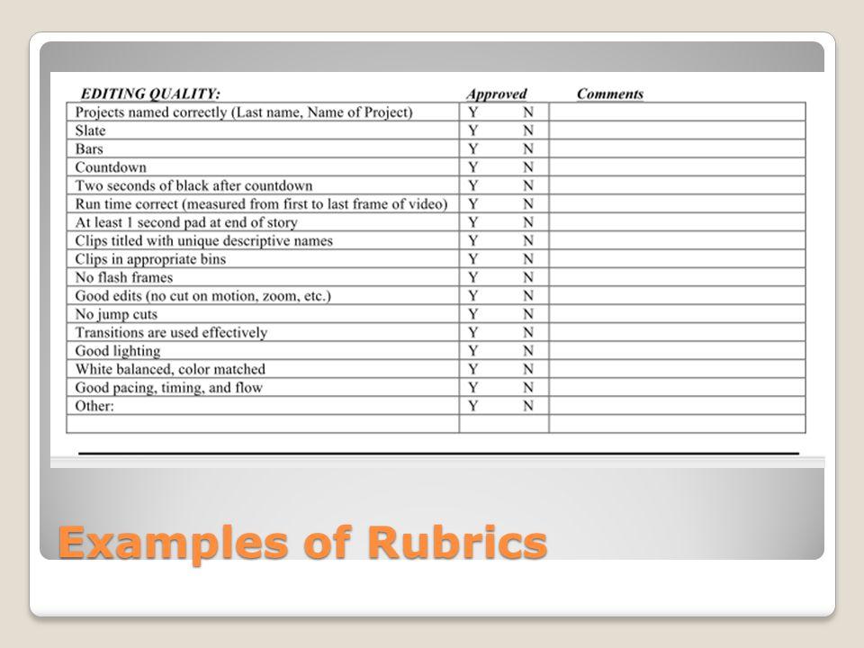 Examples of Rubrics