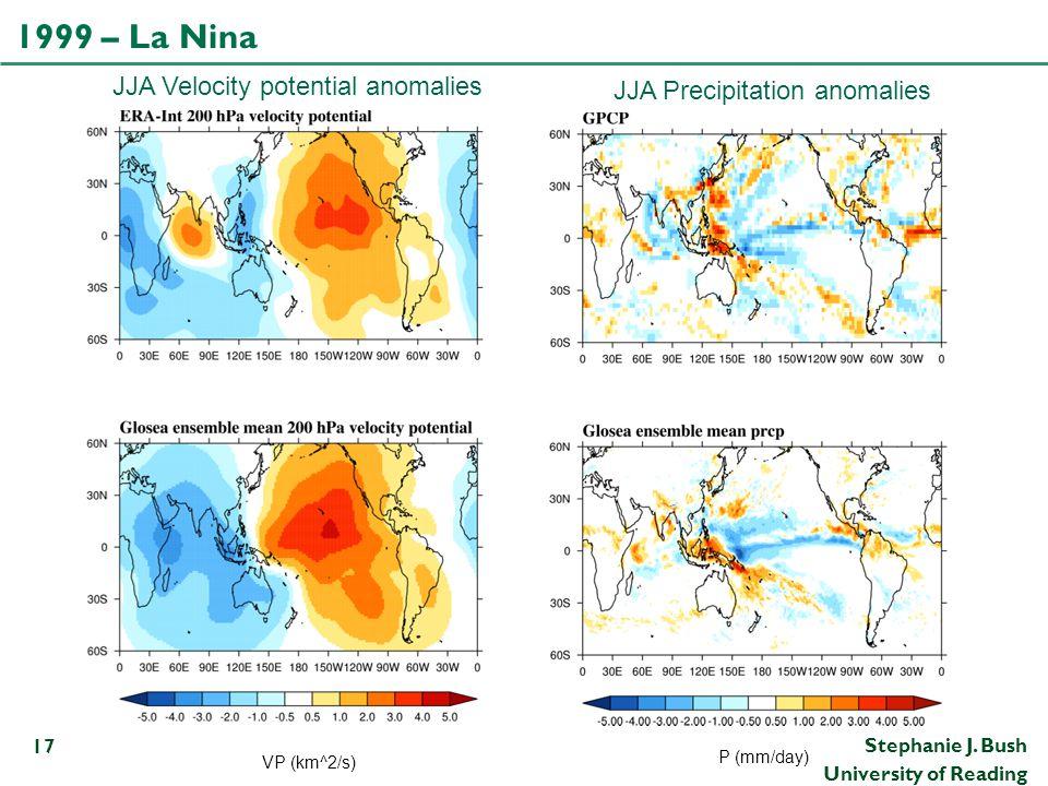 Stephanie J. Bush University of Reading 1999 – La Nina 17 JJA Velocity potential anomalies JJA Precipitation anomalies VP (km^2/s) P (mm/day)