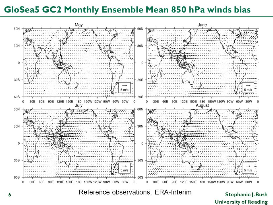 Stephanie J. Bush University of Reading GloSea5 GC2 Monthly Ensemble Mean 850 hPa winds bias 6 Reference observations: ERA-Interim