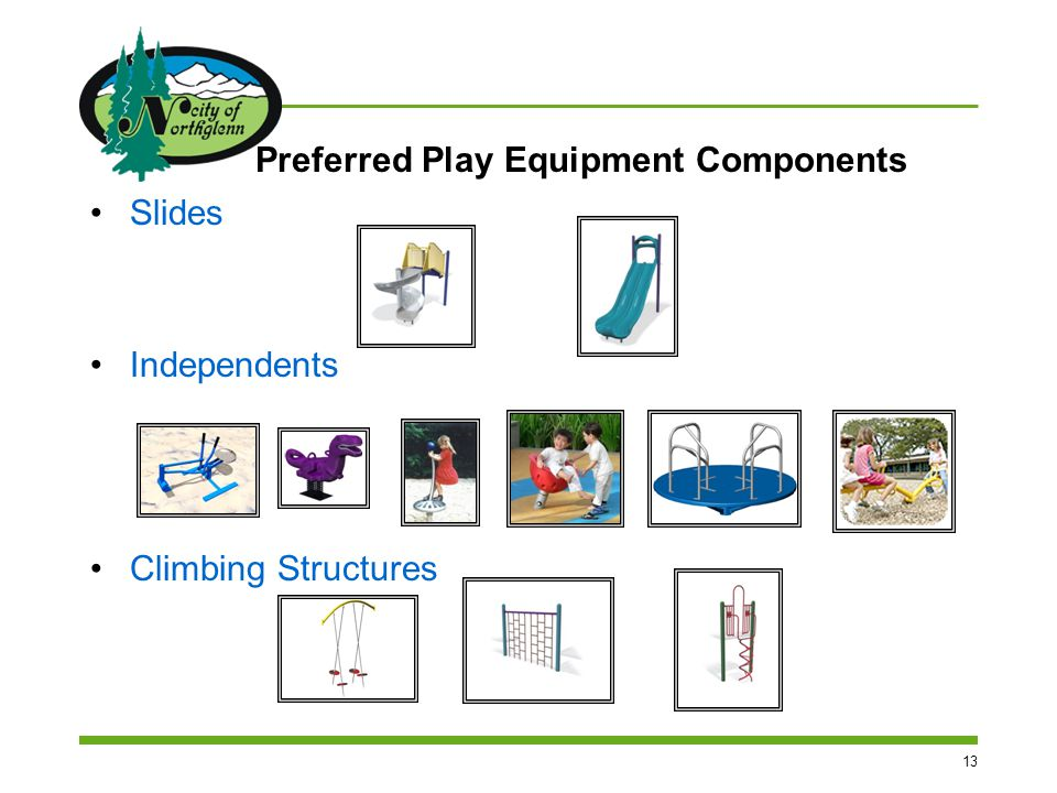 13 Preferred Play Equipment Components Slides Independents Climbing Structures