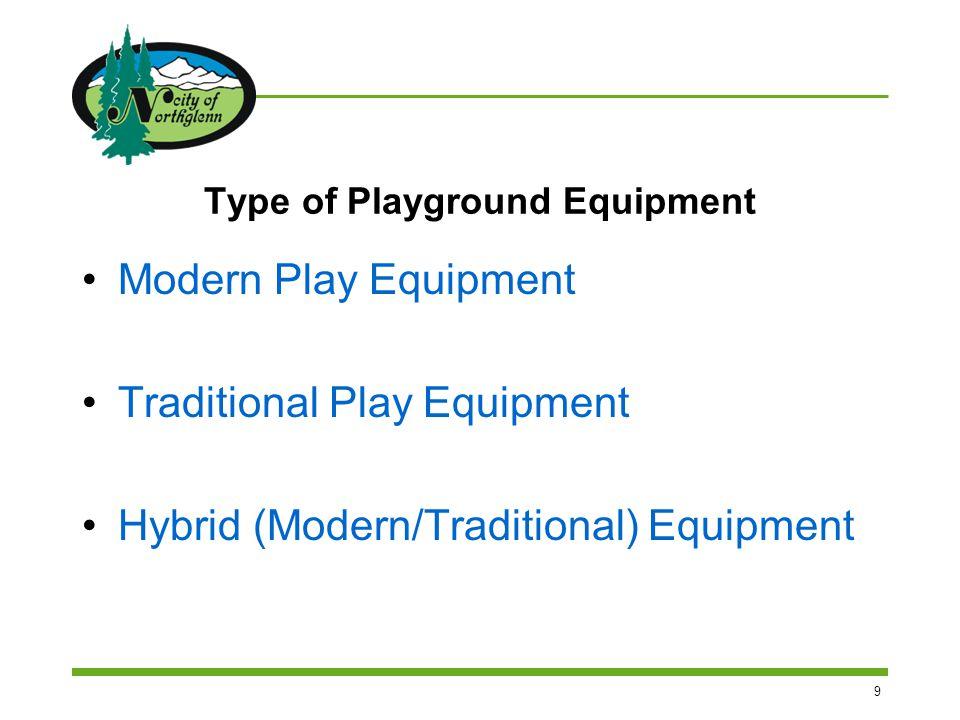 9 Type of Playground Equipment Modern Play Equipment Traditional Play Equipment Hybrid (Modern/Traditional) Equipment