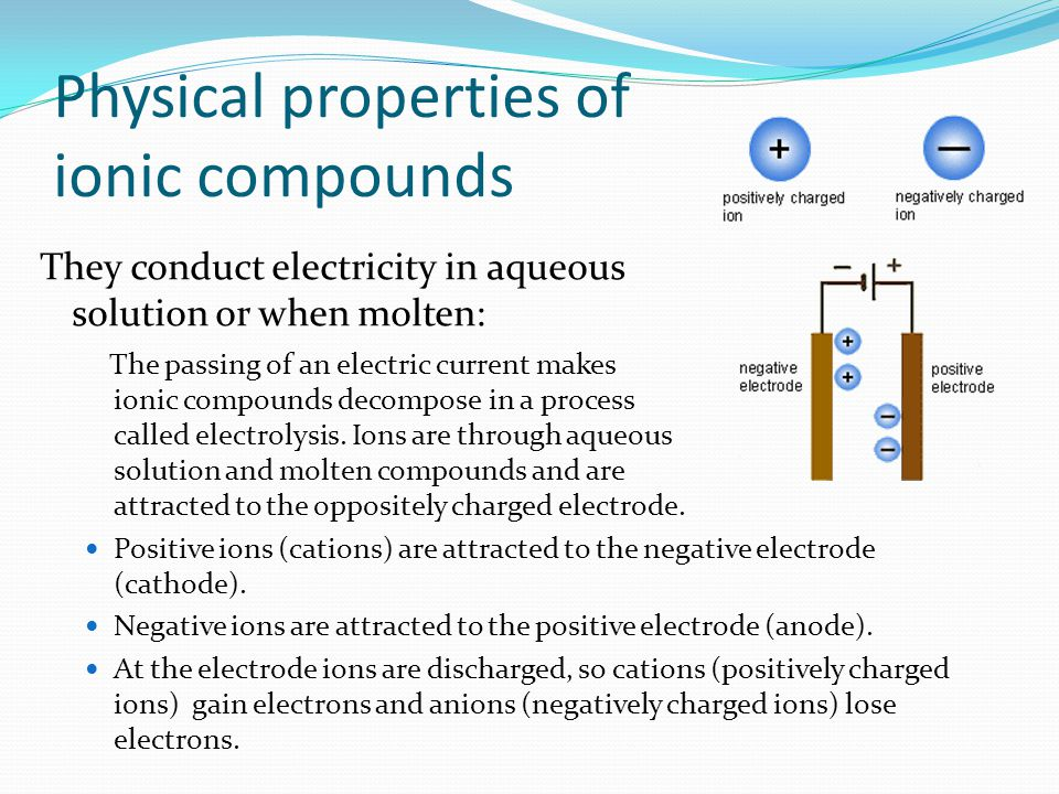 They conduct electricity in aqueous solution or when molten: The passing of an electric current makes ionic compounds decompose in a process called el
