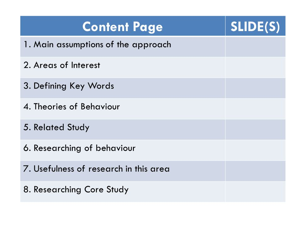 Content PageSLIDE(S) 1. Main assumptions of the approach 2.
