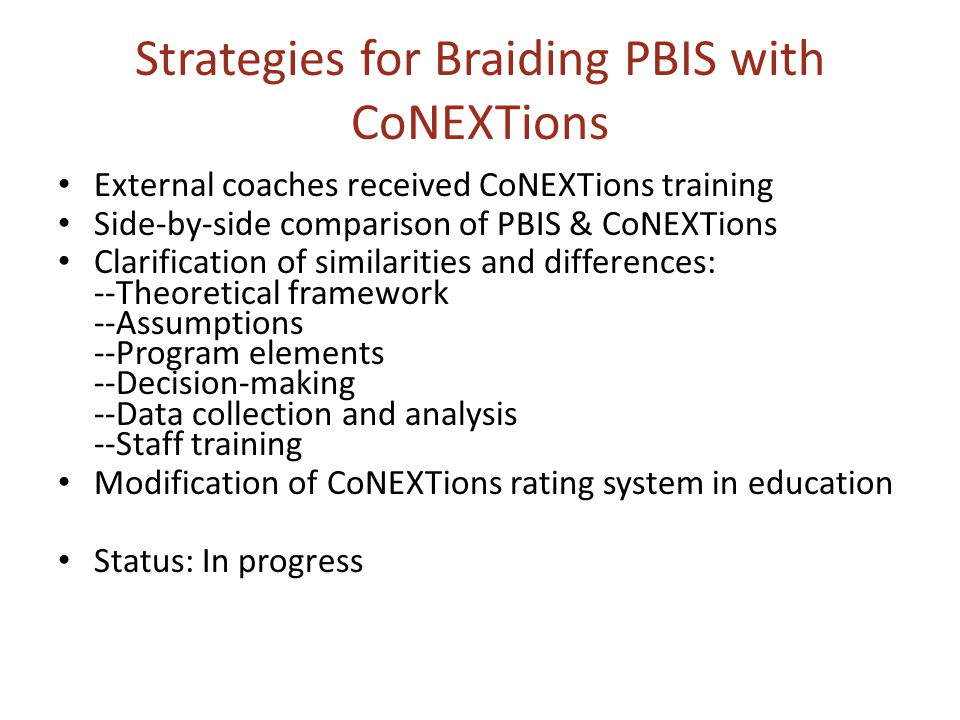 Strategies for Braiding PBIS with CoNEXTions External coaches received CoNEXTions training Side-by-side comparison of PBIS & CoNEXTions Clarification