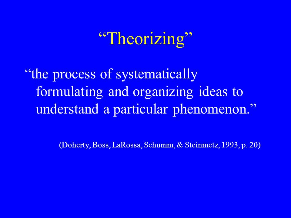 Theorizing the process of systematically formulating and organizing ideas to understand a particular phenomenon. (Doherty, Boss, LaRossa, Schumm, & Steinmetz, 1993, p.