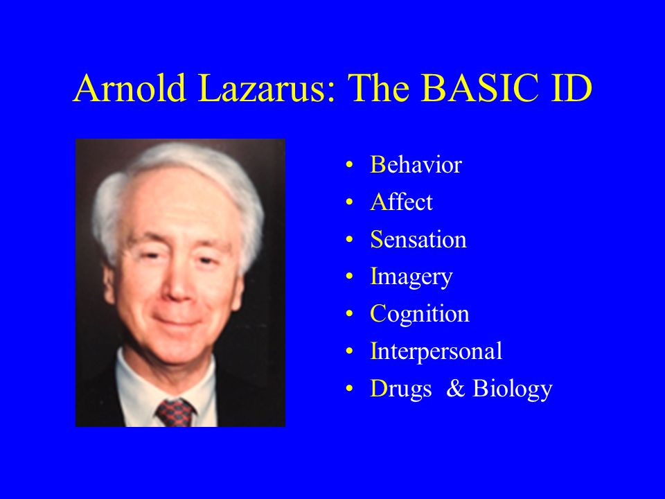 Arnold Lazarus: The BASIC ID Behavior Affect Sensation Imagery Cognition Interpersonal Drugs & Biology