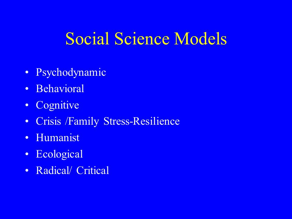 Social Science Models Psychodynamic Behavioral Cognitive Crisis /Family Stress-Resilience Humanist Ecological Radical/ Critical